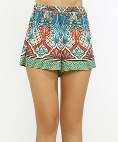 Another great find on #zulily! Teal & Red Arabesque Pull-On Shorts #zulilyfinds