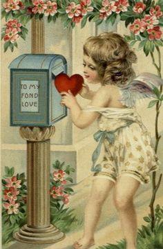Postal vintage de San Valentín - Valentine Vintage Postcard