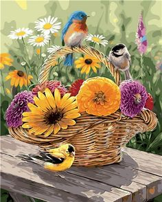 A Summer Bouquet of gorgeous mums and daisies being admired by cute little birds. This has to be the loveliest basket of flowers and birds in beautiful summer colours! Graffiti Kunst, Paint By Number Kits, Cross Paintings, Original Paintings, Jolie Photo, Little Birds, Small Birds, Garden Flags, Adult Coloring Pages