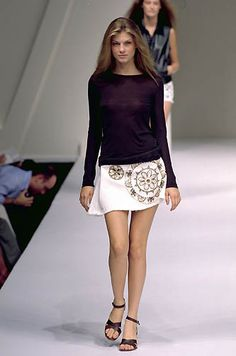 Sportmax | Spring 2000 Ready-to-Wear | 122 Black long sleeve top and white embellished mini skirt