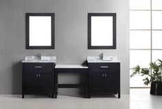 Buy the Design Element Espresso Direct. Shop for the Design Element Espresso London Free Standing Vanity Set with Marble Top, Two Undermount Sinks, Two Matching Mirrors and Make-Up Table and save. Single Sink Bathroom Vanity, Vanity Sink, Bathroom Vanities, Sinks, Bathrooms, Free Standing Vanity, Modern Vanity, Modern Bathroom, Vanity Set With Mirror