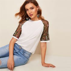 Embroidery Sheer Sleeve White T Shirt Women Casual Short Sleeve Round Neck Mesh Top Summer Solid Raglan Sleeve Tshirt Shirt Embroidery, Summer Tops, S Models, Diy Fashion, Casual Shorts, T Shirts For Women, Nova, Sleeves, Sweatshirt