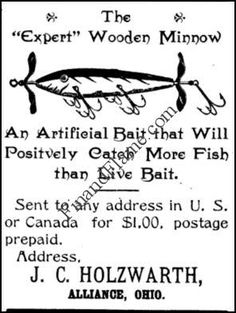 Holzwarth Expert Minnow Lure Ad 1901 - http://www.finandflame.com/holzwarth-expert-minnow-lure-ad-1901/ - #HolzwarthExpertMinnowLure - Holzwarth Expert Minnow Lure This Holzwarth Expert Minnow Lure Ad dates to 1901 and was found in a Wisconsin Naturalist Magazine. Really a strange place to advertise the add so far away since there is not much information out there about Holzwarth. I was first excited as the book dated to 1897,...