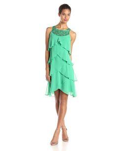 S.L. Fashions Women's Jewel Neck Multi Tiered Cocktail Dress, Grass, 6