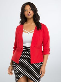 """<p>Heat up any water-cooler discussion. This work-ready blazer is lightweight and easy-moving; the sculpted (and vibrant) salsa red style has a drape front that flatters and ruched sleeves that play up your proportions. Faux front pockets.</p>  <p></p>  <p><b>Model is 5'11"""", size 1</b></p>  <ul> <li>Size 1 measures 27 5/8"""" from shoulder</li> <li>Polyester/rayon/spandex</li> <li>Wash cold, dry low</li> <li>Imported plus size blazer</li> </ul>  <p></p>"""