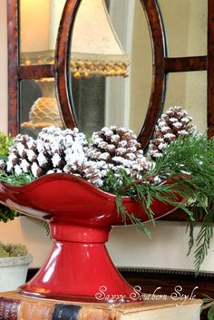 Southern Living at Home beautiful red bowl holding white painted pinecones