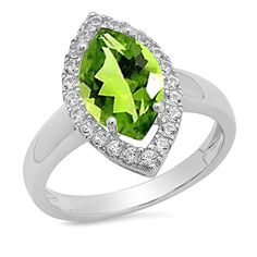 Sterling Silver Marquise Peridot & Round White Sapphire Halo Bridal Engagement Ring (Size 7). Other ring sizes may be shipped sooner. Most rings can be resized. Items is smaller than what appears in photo. Photo enlarged to show detail. Satisfaction Guaranteed. Return or exchange any order within 30 days. Color may varies from photo. Gemstone : Peridot & White Sapphire.