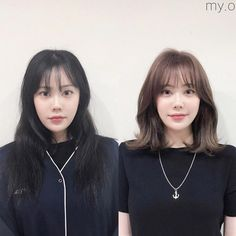 Side Fringe Hairstyles, Permed Hairstyles, Girl Hairstyles, Medium Hair Cuts, Medium Hair Styles, Short Hair Styles, Hair Cut Pic, Korean Wavy Hair, Two Color Hair