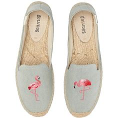 Soludos Smoking Slipper Embroidery (Flamingo Chambray) Women's... (€60) ❤ liked on Polyvore featuring shoes, slippers and espadrille