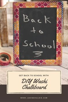With back to school, approaching I am sharing a DIY Washi Tape craft with decorating a wooden chalkboard with washing tape.
