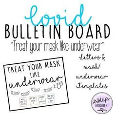 "Save some time with this funny bulletin board kit! Included in this resource are black letters and a mask and underwear template with ""Treat your mask like underwear"". I have also included posters in color and black and white in full sheet and 5x5 sheets. Add some colored cardstock to the back of the posters to add some color! Add the children's names to the masks or underwear for a funny back to school display. Follow my store for new products, freebies, and sales!"