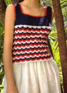 tejidos artesanales en crochet: musculosa navy style (talle 1)