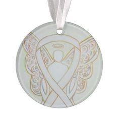 White Awareness Ribbon Angel Customized Ornaments