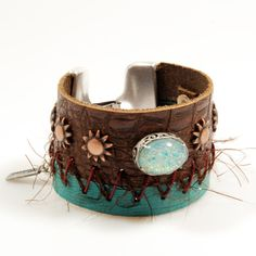 Leather cuff western style - leather bracelet 2 leathers brown and emerald green - Ibiza, bohemian style - leather jewelry - glass cabochon on Etsy, $63.77