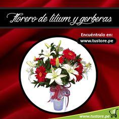 Florero de lilium y gerberas