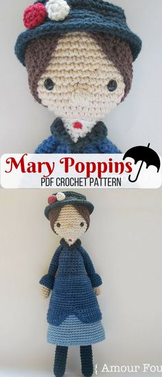 Make your own lovely Mary Poppins crochet doll. Unfortunately she won't be able to watch your kids :-( But she sure is fun to play with :-) #marypoppins #ad #pattern
