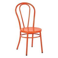 Work Smart/OSP Designs Odessa Metal Dining Chair with Backrest (2 Pack), Solid Orange