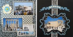 Athens travel scrapbook 2 page layout of the Parthenon at the Acropolis with a beautiful frame and banner from Cricut's Reminisce. - from Travel Album 10 - Athens, Greece