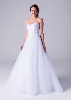 Bride&co wedding dress, Strapless ballgown with pleated bodice & lace applique