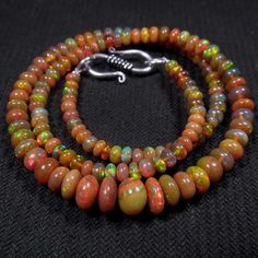 48 cts 4mm 7mm 17 Ethiopian Welo Opal Beads Fiery Green Red COLORPLAY Necklace   eBay