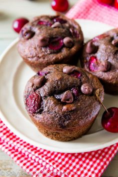 Moist, fudgy 110 calorie chocolate muffins filled with juicy cherries. You won't miss all the calories and fat, trust me! @Sally [Sally's Baking Addiction]