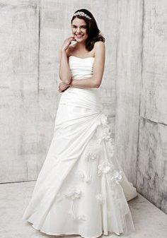 Fabulous Fit N Flare Silky Taffeta Strapless Asymmetric Waist Sleeveless Wedding Gowns - Lunadress.co.uk