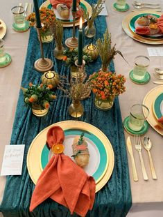 Gorgeous ideas for an Emerald and Orange Thanksgiving.
