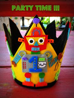 Birthday crown Robot birthday party hats by cottonsandcandies