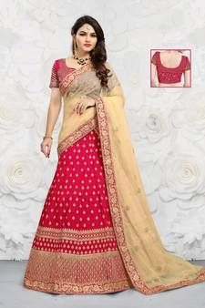 Red embroidered traditional lehenga with unstitched blouse and net dupatta at Mirraw. Red Lehenga, Dupion Silk, Embroidered Silk, Red Color, Indian Fashion, Red Velvet, Hand Weaving, Sari, Traditional