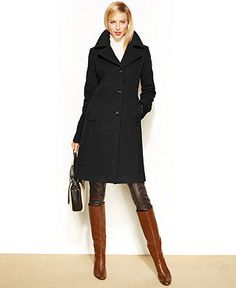 Anne Klein Wool-Cashmere-Blend Notched-Collar Walker Coat - Coats - Women - Macy's