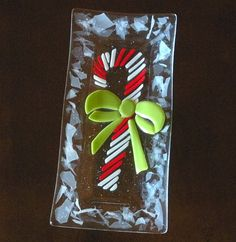 Fused Glass Candy Cane Dish Plate by blueheron on Etsy, $40.00