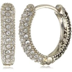 Judith Jack Sterling Silver, Marcasite, and Crystal Hoop Earrings ($80) ❤ liked on Polyvore featuring jewelry, earrings, marcasite earrings, sterling silver jewelry, crystal earrings, sterling silver pendant and earrings jewelry