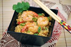 "Tasty Trials: ""Art"" and Chili-Garlic Quinoa with Shrimp - I added orange peppers and portebella mushrooms - sooooo delicious"