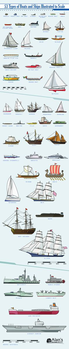 53 Types of Boats and Ships Illustrated to Scale Infographic