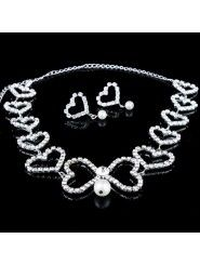 Sweetheart Alloy and Rhinestions Wedding Jewewry Set, Including Necklace and Earrings