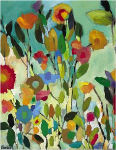 I love Kim Parker flower paintings... so vibrant, colorful. I have a version of this Turquoise Garden in my bedroom. Love waking up to it everyday...