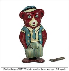 Brown Bear No. 153, WELLS-BRIMTOY, Great Britain. Vintage Tin Litho Tin Plate Toy. Wind Up Mechanism.