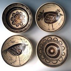 bird & flower bowls | sgraffito | graves and company | white stoneware | steve smith & rebecca graves
