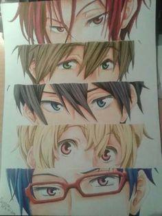 Rin, Makoto, Haruka, Nagisa and Rei - eyes *-*