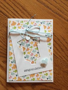 Baby cards handmade cricut 55 ideas for 2019 Baby Boy Cards, New Baby Cards, Diy Cards Baby, Diy Baby, Baby Congratulations Card, Tarjetas Diy, Cricut Cards, Paper Cards, Kids Cards