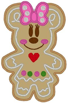 Gingerbread Girl M Cookie Embroidery Machine Applique Design Disney Christmas Crafts, Mickey Christmas, Disney Crafts, Kids Christmas, Christmas Gingerbread, Christmas Ornaments, Machine Applique Designs, Machine Embroidery Applique, Disney Diy