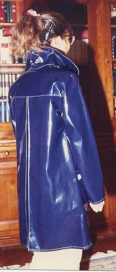 # Blue Raincoat, Pvc Raincoat, Rain Wear, 4 Photos, How To Wear, Collection, Vintage, Women, Red