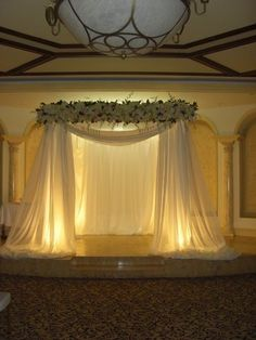 """ceremony decoration - wedding arch need to remember this, can frame the """"drop down screen"""" like this"""