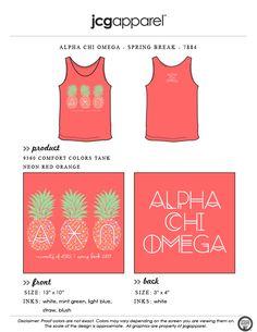JCG Apparel : Custom Printed Apparel : Alpha Chi Omega Spring Break T-Shirt #alphachiomega #springbreak #pineapple #tank #staycool