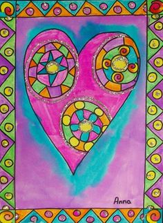 "Glitter and Colorful Framed Heart - The link offers no instructions but it looks easy enough to duplicate. Use bright paint and then outline with permanent marker.  Add glittery detail with white glue. (From exhibit ""Laurel Burch Valentines"" by Anna1433)."