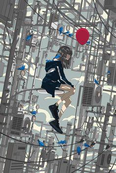Art by Toko-t Art Anime Fille, Anime Art Girl, Manga Art, Aesthetic Drawing, Aesthetic Art, Aesthetic Anime, Japon Illustration, Wallpaper Aesthetic, Cute Girl Drawing