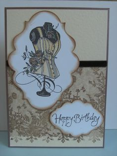 Stampendous Cling Rose Corset and Spellbinders Dyes. Made with a Vintage Sepia colour theme.