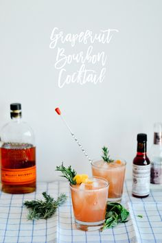 Cocktail recipe: Make your own easy and delicious grapefruit bourbon cocktail with fresh basil syrup // by gabriella