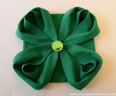 4-Leaf Clover Napkin Fold for St. Patrick's Day Table Setting:  Between Naps on the Porch