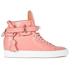 Buscemi Womens Hi-Top Trainers Buscemi 100mm Alta Rose Wedge Hi-top... ($985) ❤ liked on Polyvore featuring shoes, sneakers, leather shoes, wedge heel sneakers, hidden wedge shoes, hidden wedge sneakers and high top sneakers